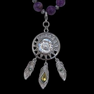New handmade Amethyst dreamcatcher necklace
